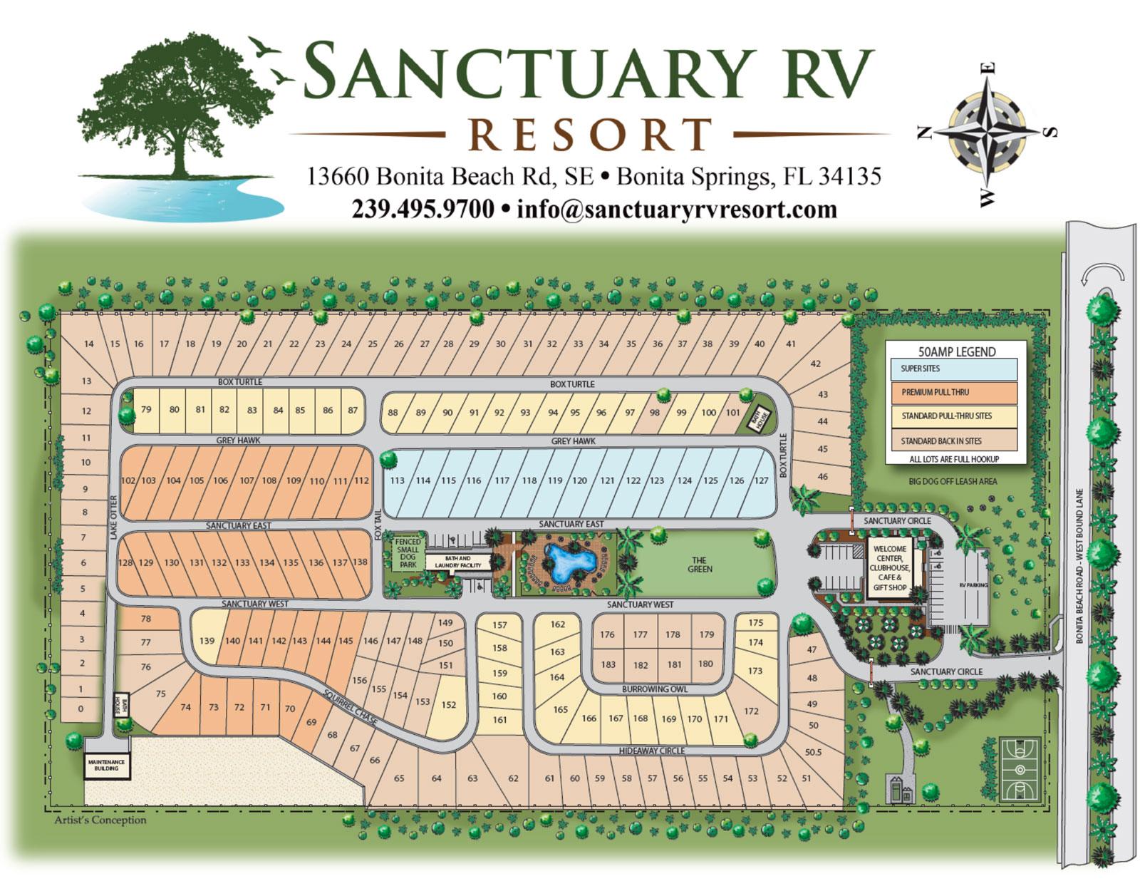 Florida Rv Parks Map Sanctuary RV Resort | Bonita Springs RV Park | Resort Map